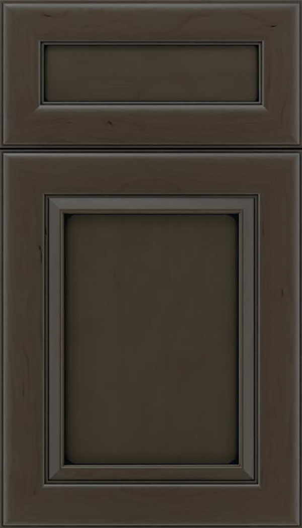 Paloma 5pc Cherry flat panel cabinet door in Thunder with Black glaze