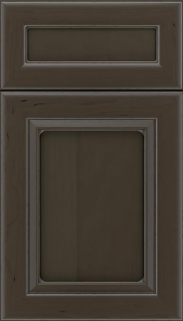 Paloma 5pc Cherry flat panel cabinet door in Thunder with Pewter glaze