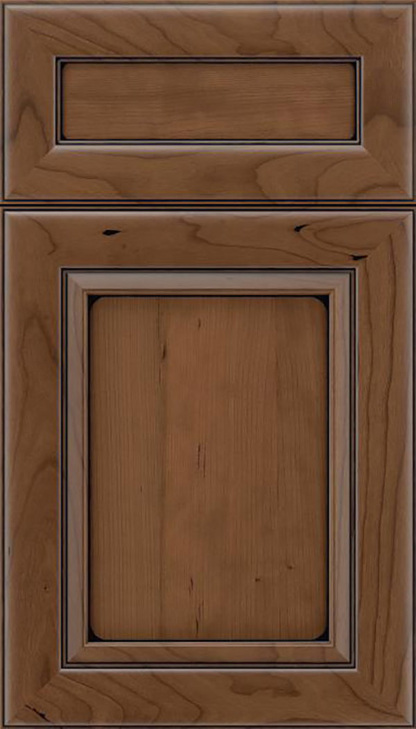Paloma 5pc Cherry flat panel cabinet door in Toffee with Black glaze