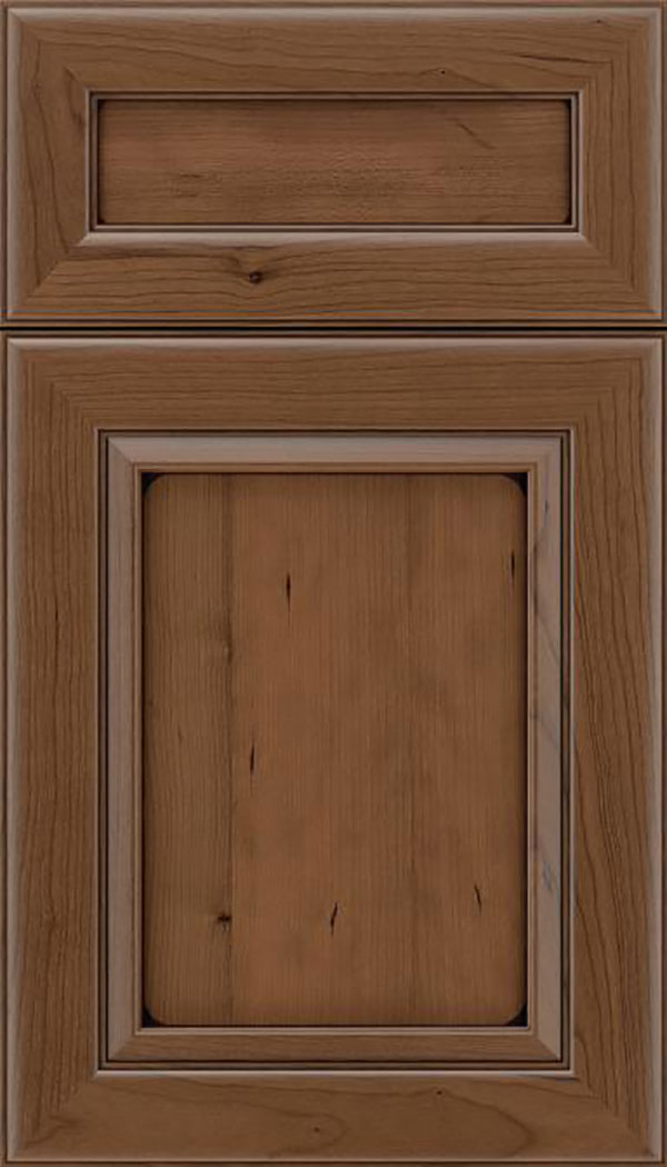 Paloma 5pc Cherry flat panel cabinet door in Toffee with Mocha glaze