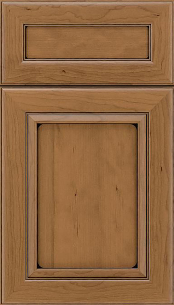 Paloma 5pc Cherry flat panel cabinet door in Tuscan with Black glaze