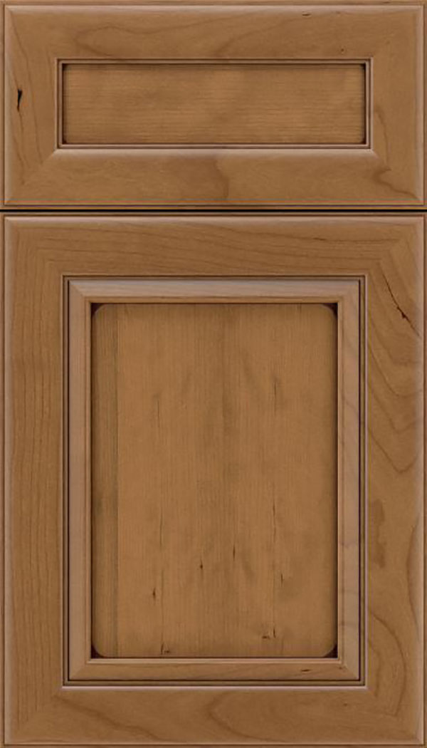 Paloma 5pc Cherry flat panel cabinet door in Tuscan with Mocha glaze