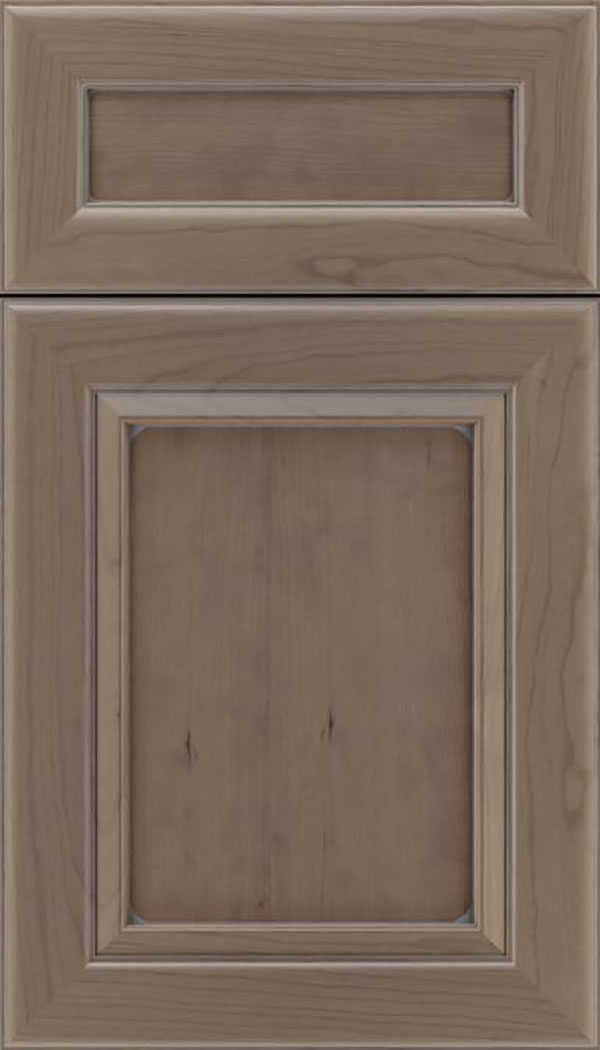 Paloma 5pc Cherry flat panel cabinet door in Winter with Pewter glaze