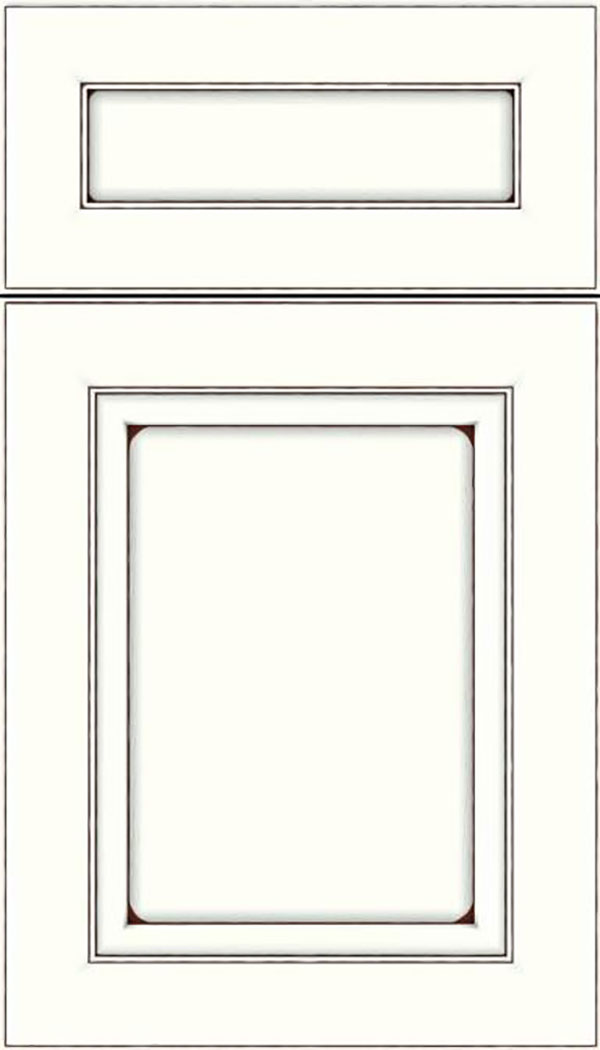 Paloma 5pc Maple flat panel cabinet door in Alabaster with Mocha glaze