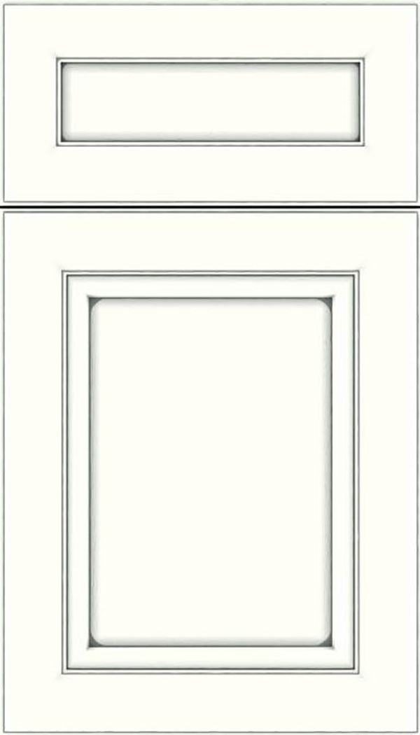 Paloma 5pc Maple flat panel cabinet door in Alabaster with Pewter glaze