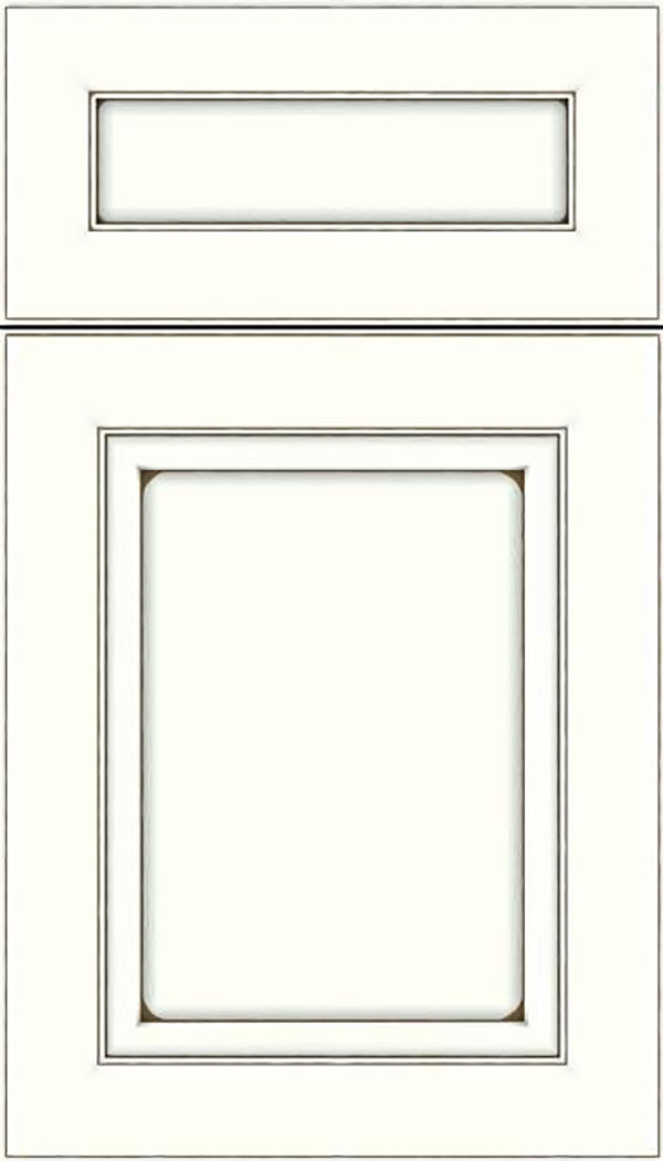 Paloma 5pc Maple flat panel cabinet door in Alabaster with Smoke glaze