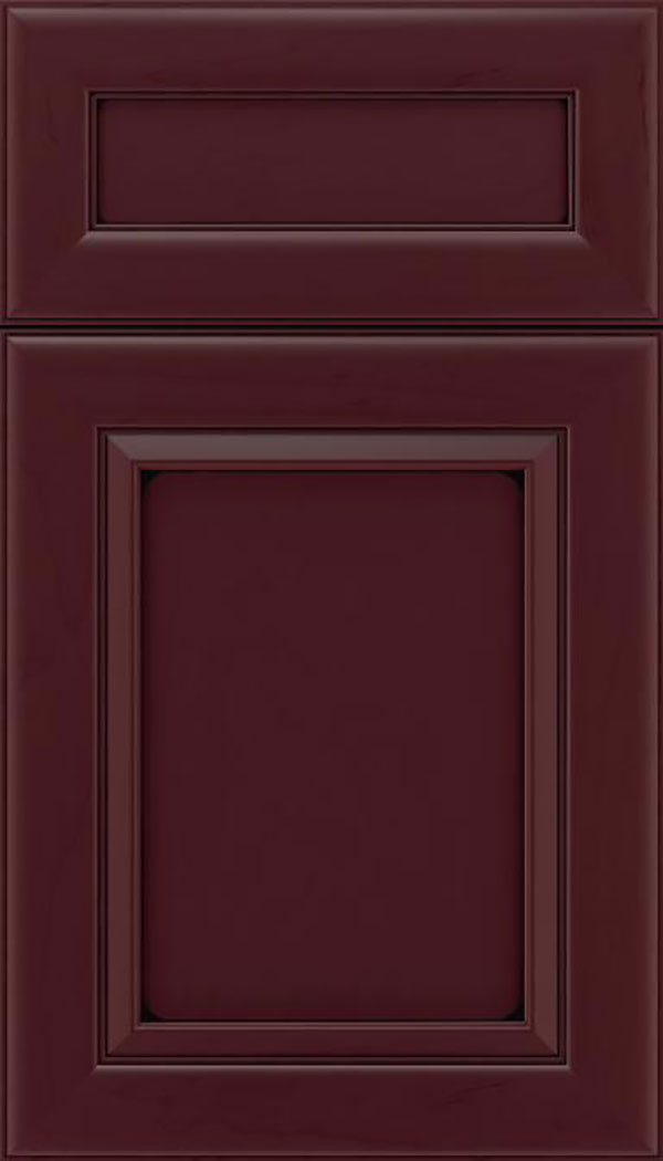 Paloma 5pc Maple flat panel cabinet door in Bordeaux with Black glaze