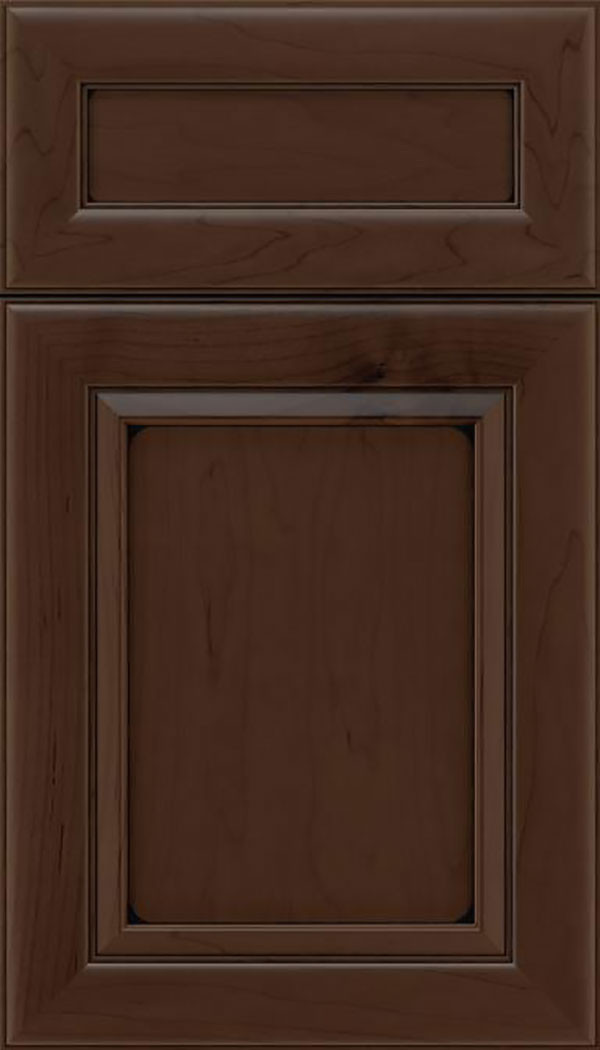 Paloma 5pc Maple flat panel cabinet door in Cappuccino with Black glaze