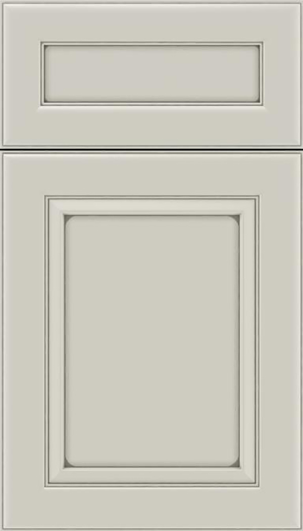 Paloma 5pc Maple flat panel cabinet door in Cirrus with Pewter glaze