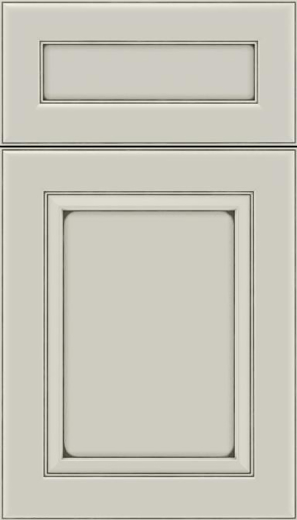 Paloma 5pc Maple flat panel cabinet door in Cirrus with smoke glaze