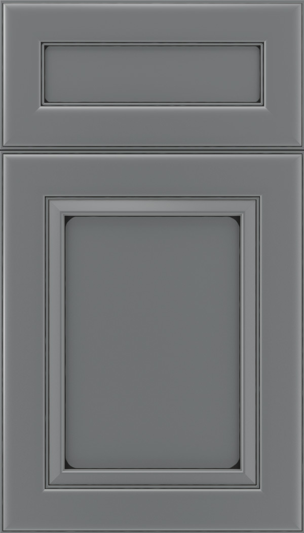 Paloma 5pc Maple flat panel cabinet door in Cloudburst with Black glaze