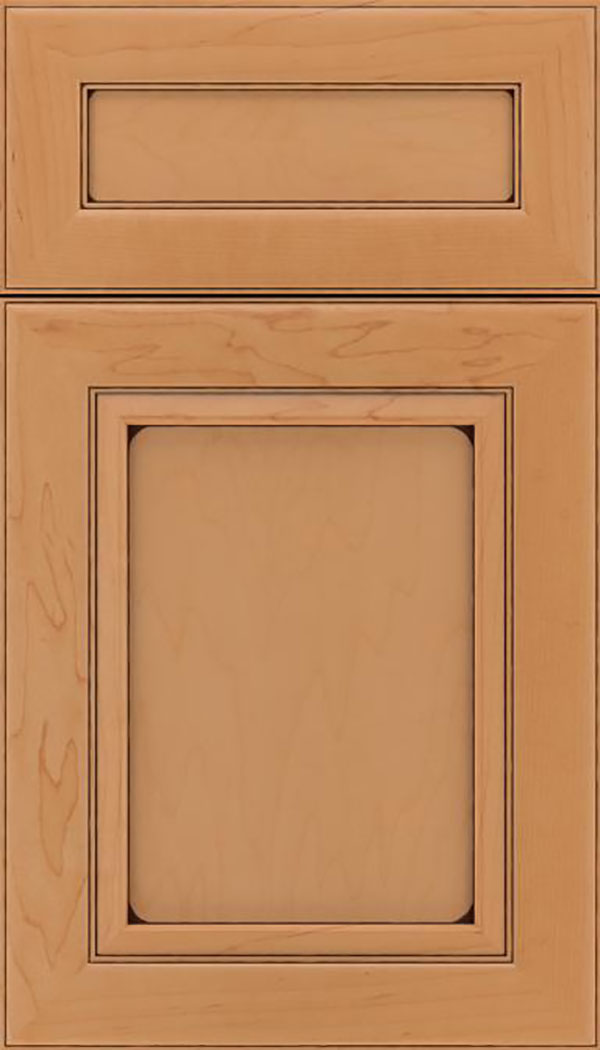 Paloma 5pc Maple flat panel cabinet door in Ginger with Black glaze