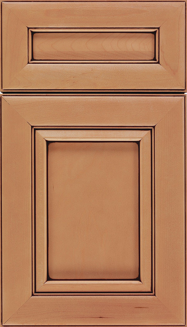 Paloma 5pc Maple flat panel cabinet door in Ginger with Mocha glaze
