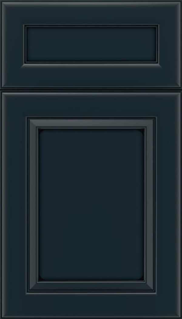 Paloma 5pc Maple flat panel cabinet door in Gunmetal Blue with Black glaze