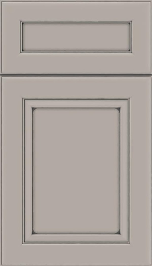 Paloma 5pc Maple flat panel cabinet door in Nimbus with Pewter glaze