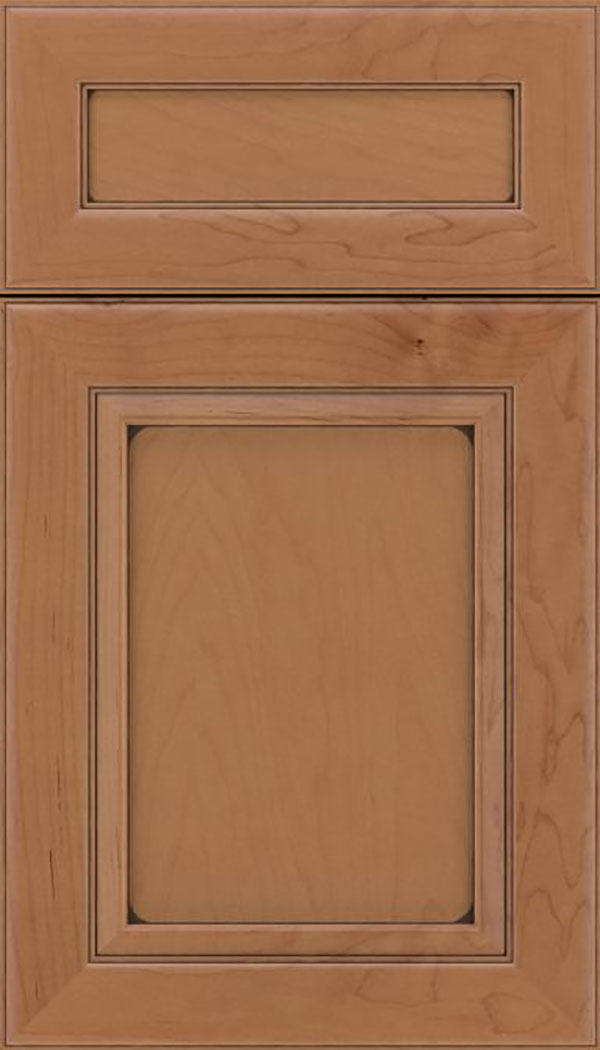 Paloma 5pc Maple flat panel cabinet door in Nutmeg with Mocha glaze