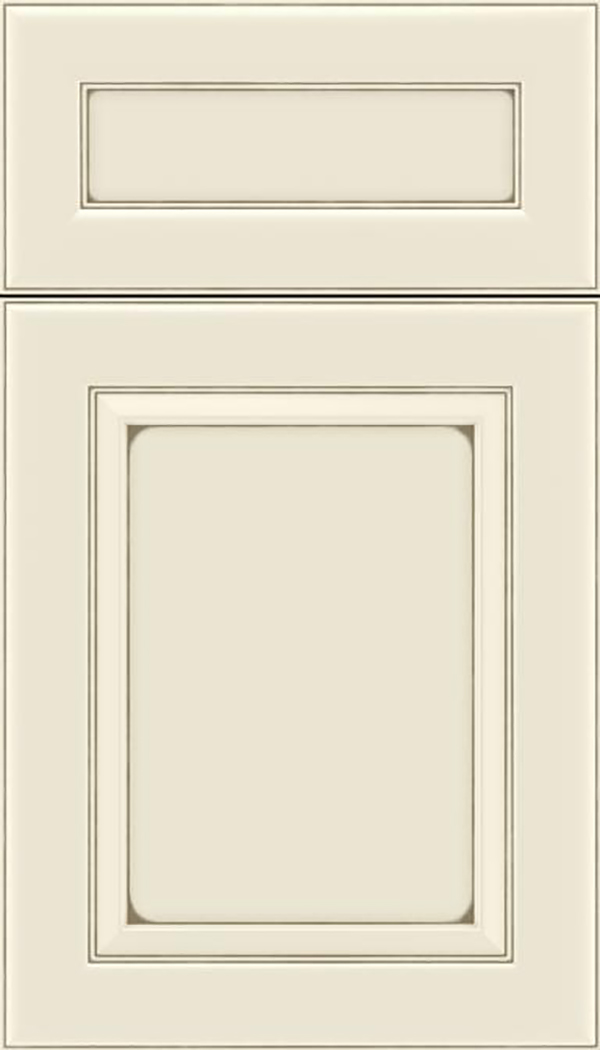 Paloma 5pc Maple flat panel cabinet door in Seashell with Smoke glaze