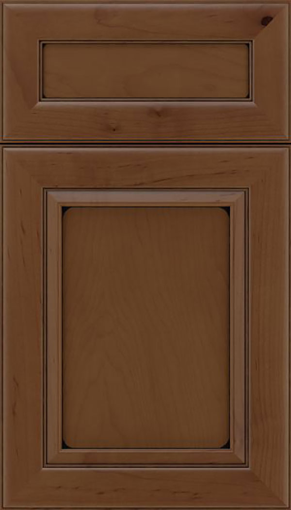 Paloma 5pc Maple flat panel cabinet door in Sienna with Black glaze