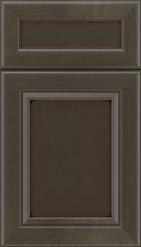Paloma 5pc Maple flat panel cabinet door in Thunder with Black glaze