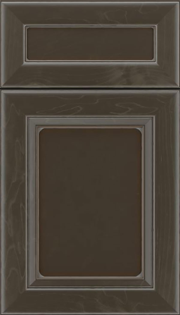 Paloma 5pc Maple flat panel cabinet door in Thunder with Pewter glaze