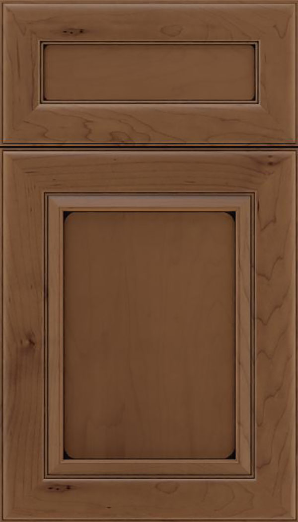 Paloma 5pc Maple flat panel cabinet door in Toffee with Black glaze