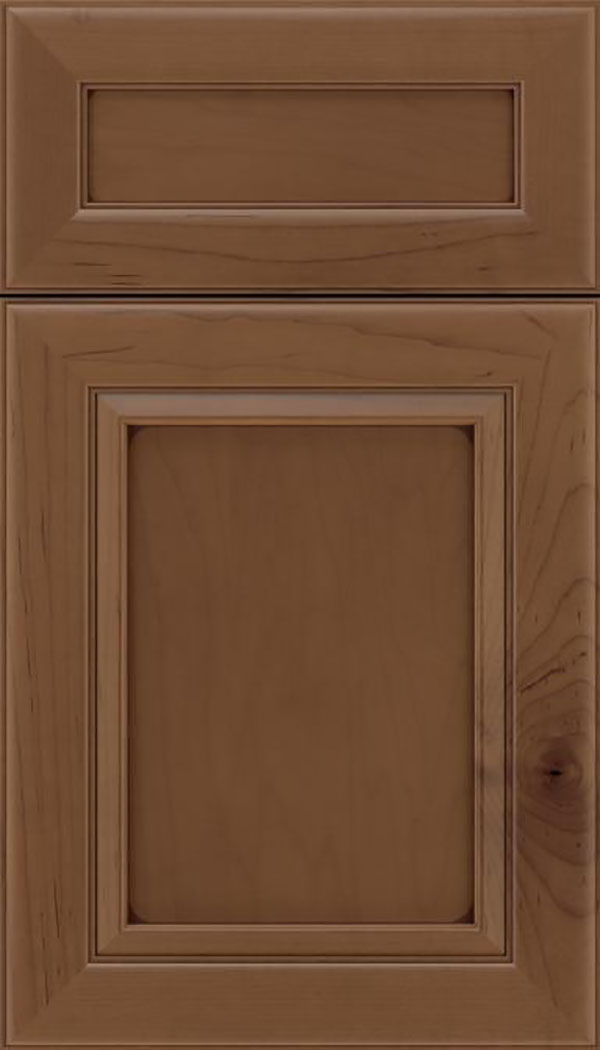 Paloma 5pc Maple flat panel cabinet door in Toffee with Mocha glaze