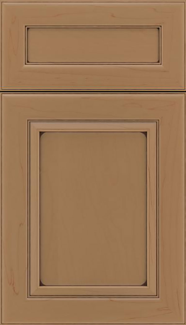 Paloma 5pc Maple flat panel cabinet door in Tuscan with Mocha glaze