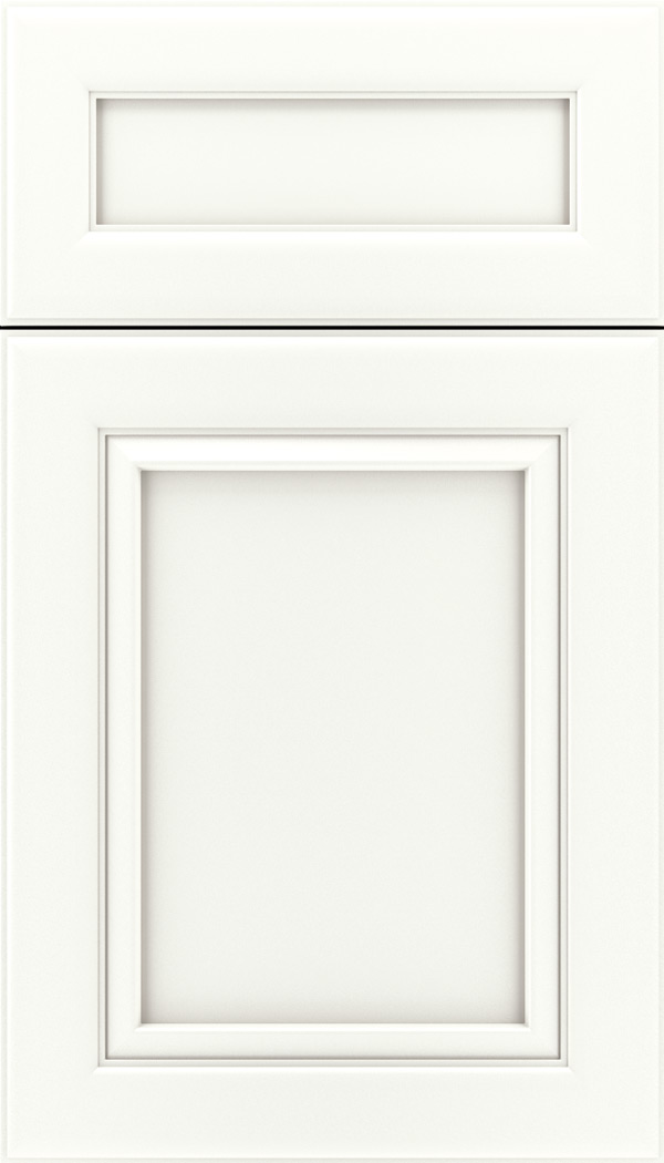 Paloma 5pc Maple flat panel cabinet door in Whitecap