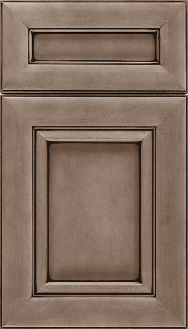 Paloma 5pc Maple flat panel cabinet door in Winter with Black glaze