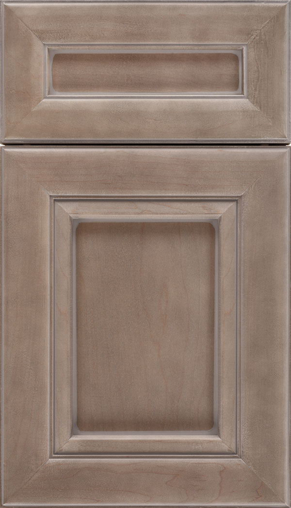 Paloma 5pc Maple flat panel cabinet door in Winter with Pewter glaze