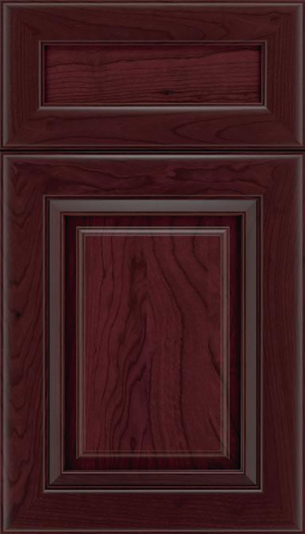Paxson 5pc Cherry raised panel cabinet door in Bordeaux