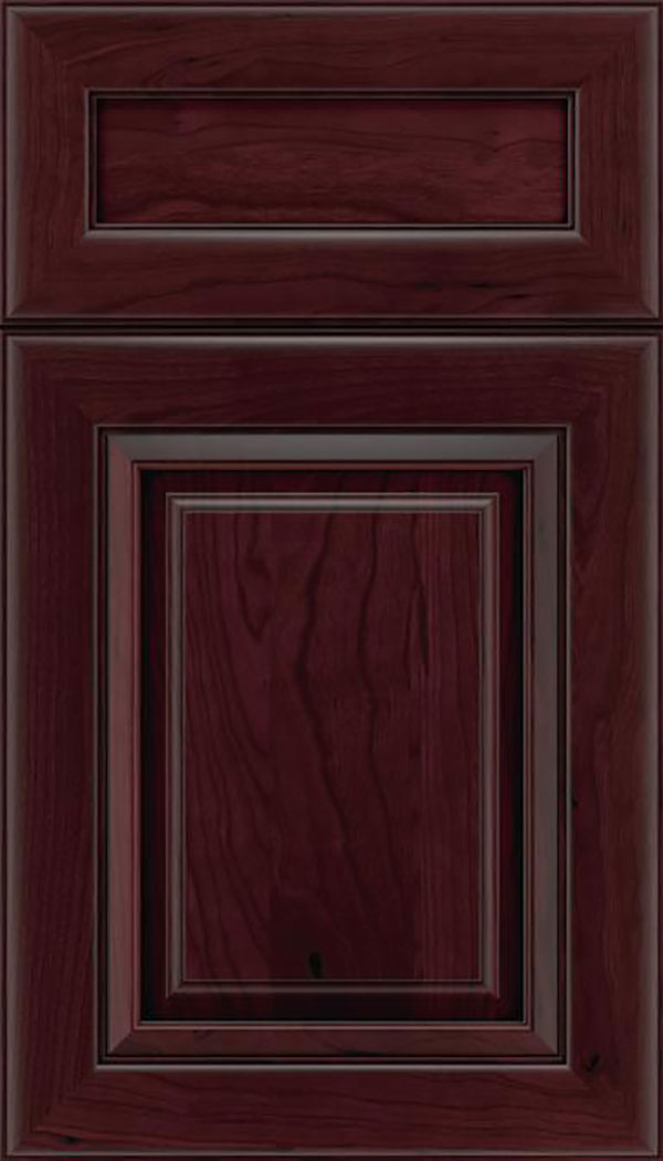 Paxson 5pc Cherry raised panel cabinet door in Bordeaux with Black glaze