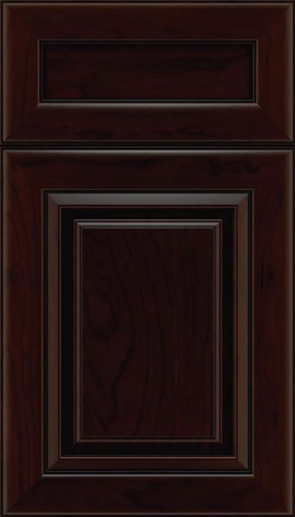 Paxson 5pc Cherry raised panel cabinet door in Cappuccino with Black glaze