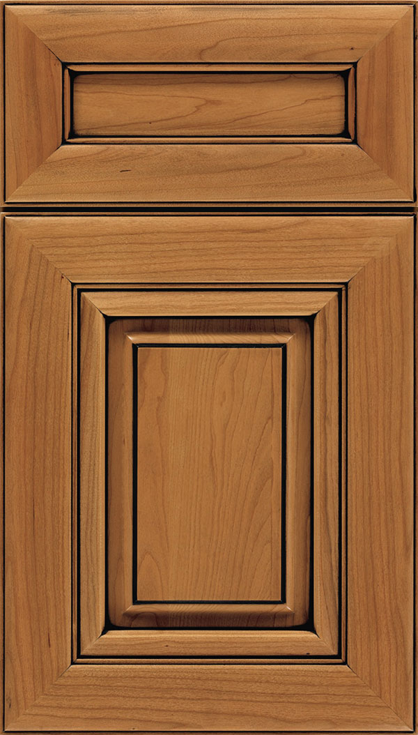 Paxson 5-Piece Cherry raised panel cabinet door in Ginger with Black glaze