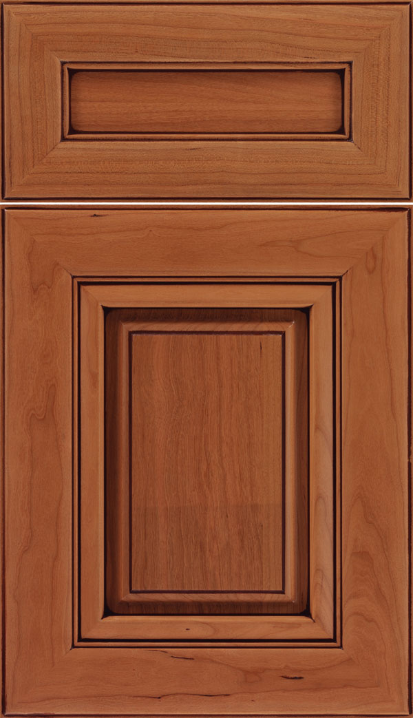 Paxson 5pc Cherry raised panel cabinet door in Ginger with Mocha glaze