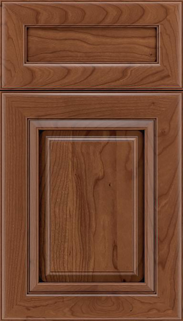 Paxson 5pc Cherry raised panel cabinet door in Nutmeg with Mocha glaze