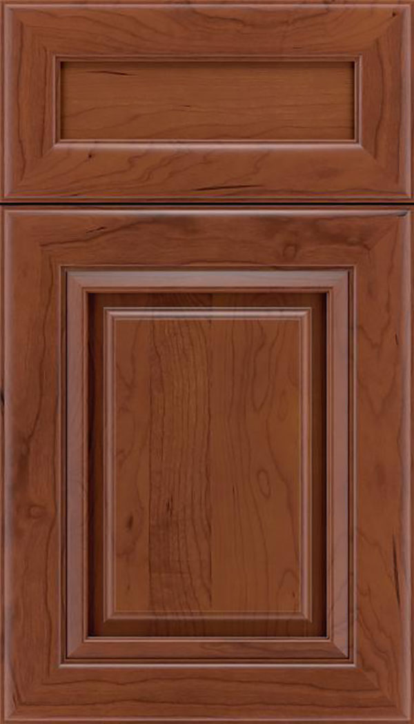 Paxson 5pc Cherry raised panel cabinet door in Russet