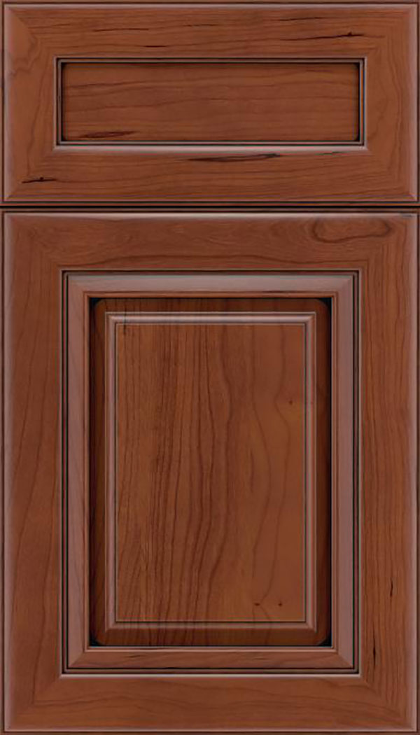 Paxson 5pc Cherry raised panel cabinet door in Russet with Black glaze