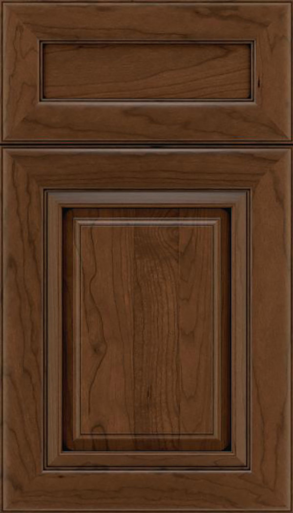 Paxson 5pc Cherry raised panel cabinet door in Sienna with Black glaze