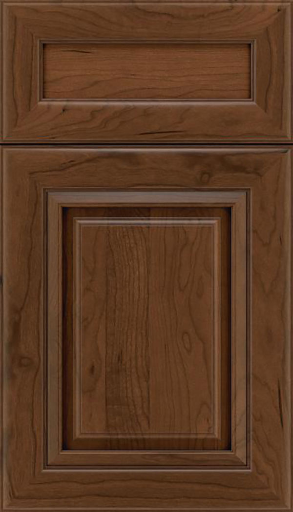 Paxson 5pc Cherry raised panel cabinet door in Sienna with Mocha glaze