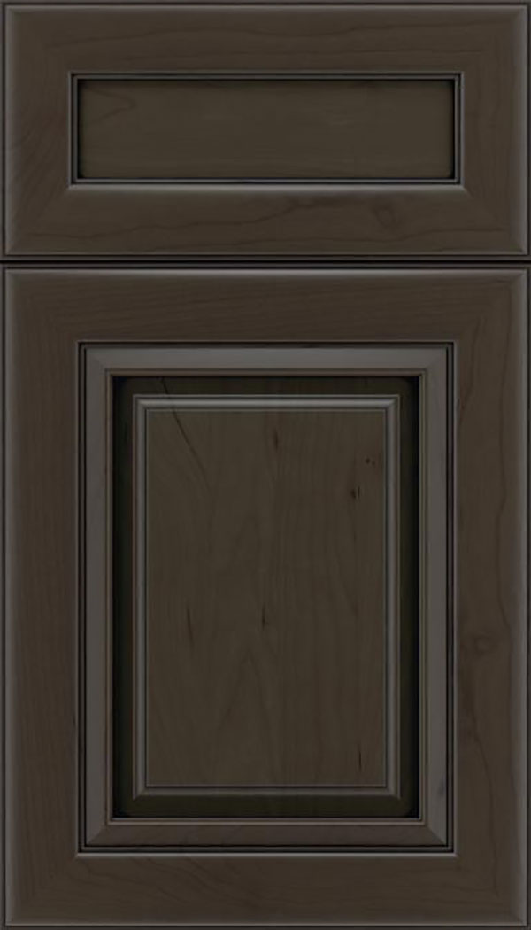 Paxson 5pc Cherry raised panel cabinet door in Thunder with Black glaze