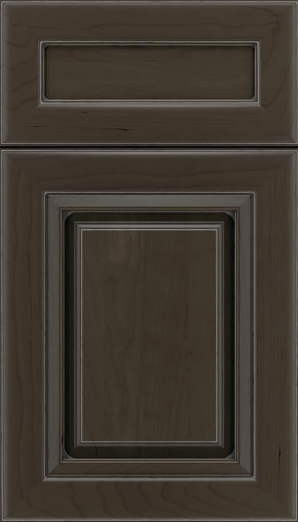 Paxson 5pc Cherry raised panel cabinet door in Thunder with Pewter glaze
