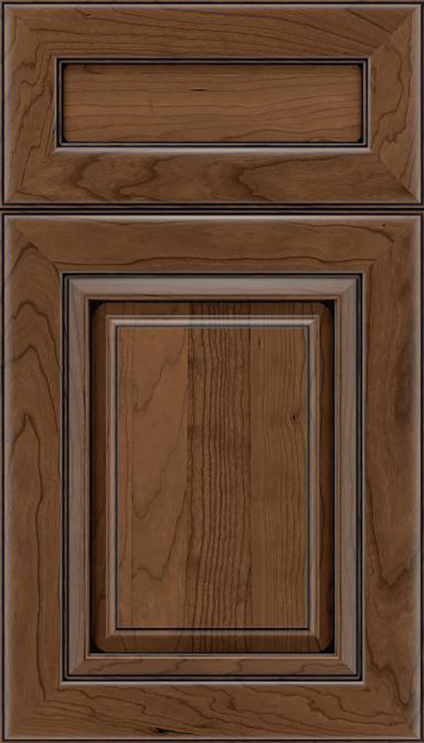 Paxson 5pc Cherry raised panel cabinet door in Toffee with Black glaze