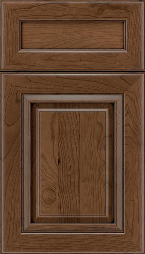 Paxson 5pc Cherry raised panel cabinet door in Toffee with Mocha glaze