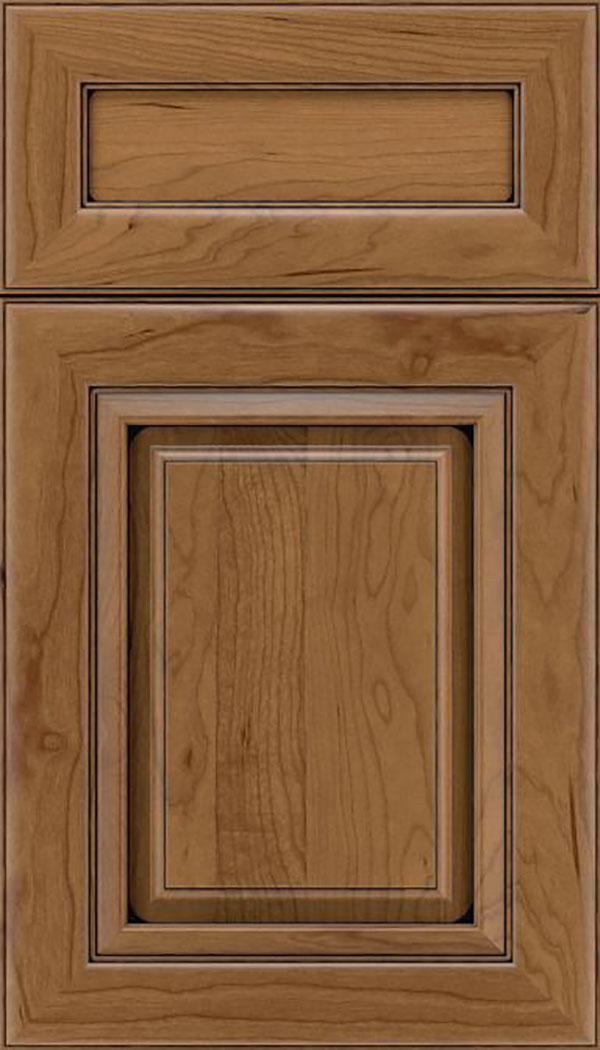 Paxson 5pc Cherry raised panel cabinet door in Tuscan with Black glaze