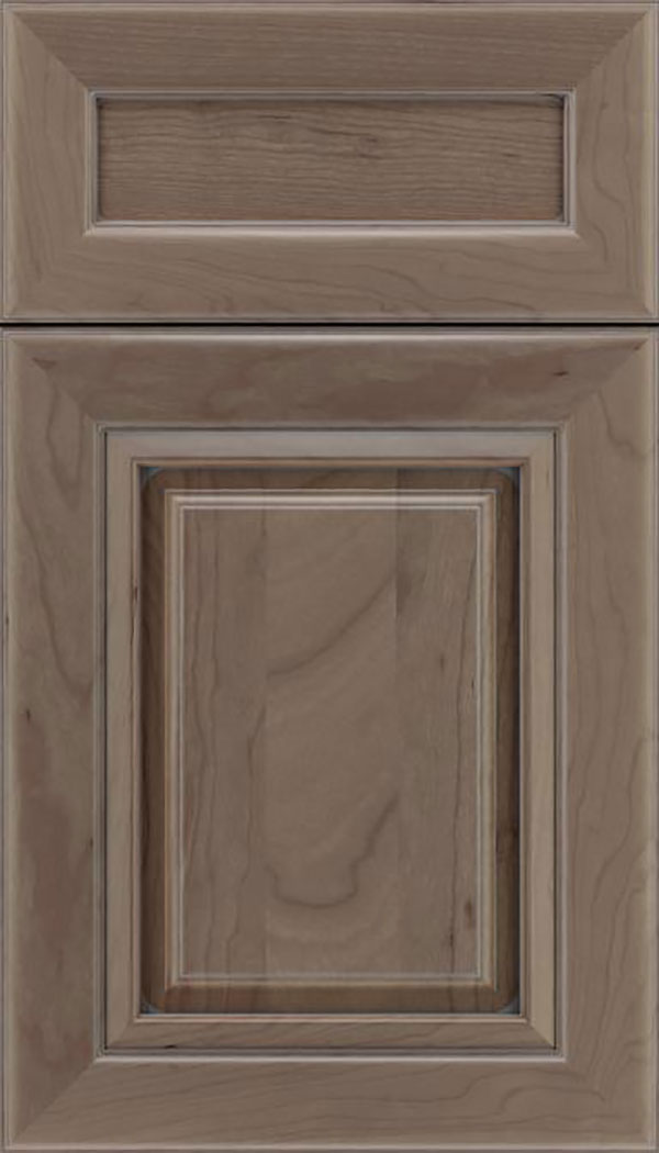 Paxson 5pc Cherry raised panel cabinet door in Winter with Pewter glaze