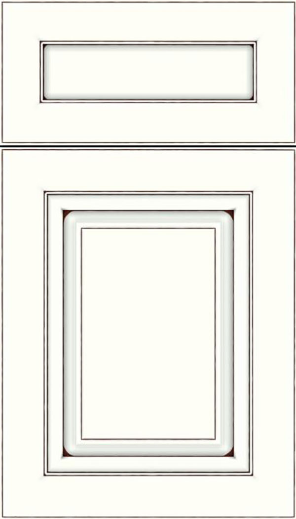 Paxson 5pc Maple raised panel cabinet door in Alabaster with Mocha glaze