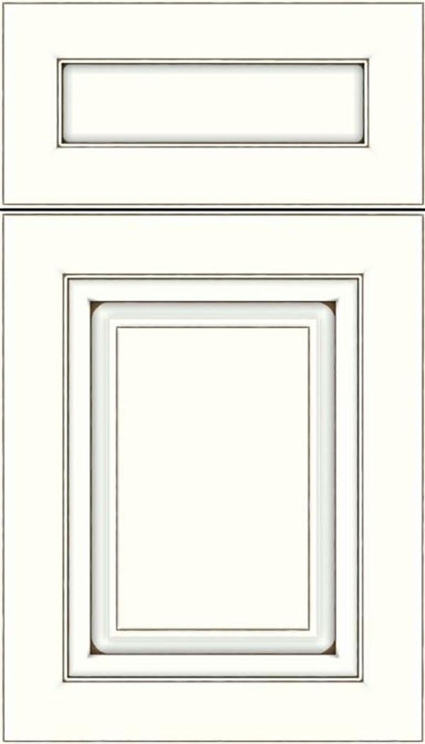 Paxson 5pc Maple raised panel cabinet door in Alabaster with Smoke glaze