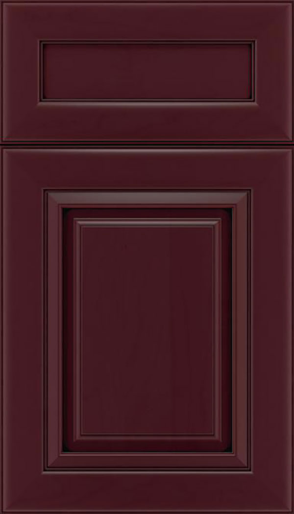 Paxson 5pc Maple raised panel cabinet door in Bordeaux with Black glaze