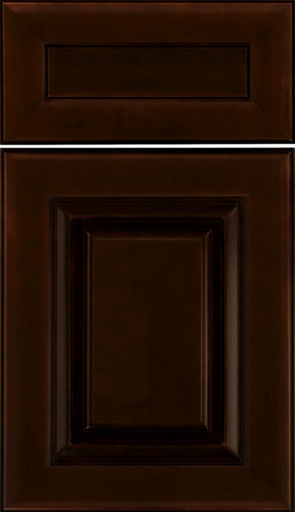 Paxson 5pc Maple raised panel cabinet door in Cappuccino with Black glaze